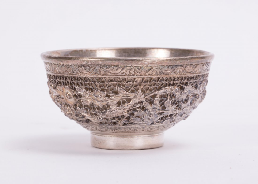 CHINESE SILVER BOWL W/ OPEN WORK