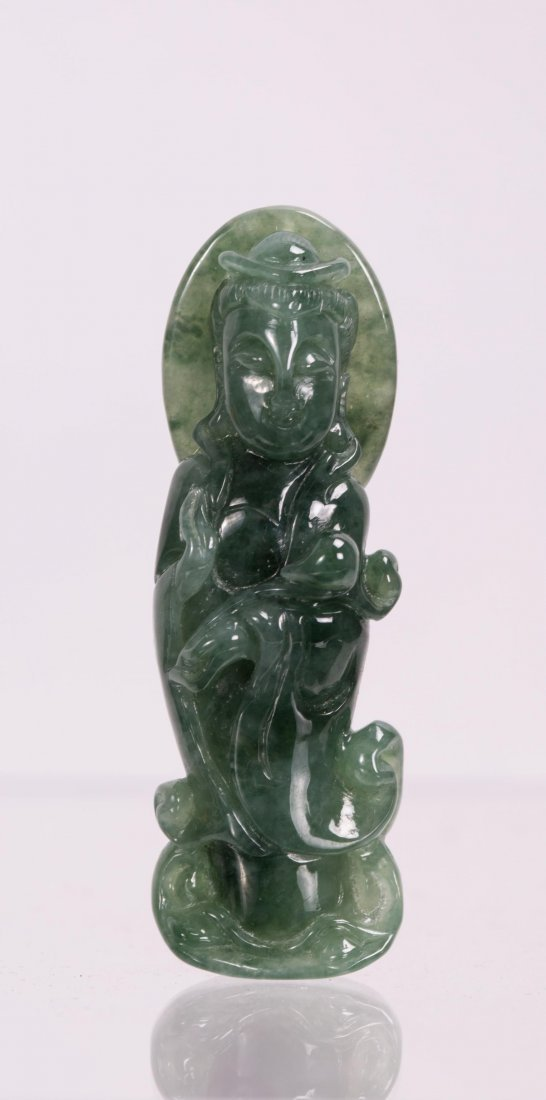 CHINESE JADEITE CARVED GUANYIN PENDANT