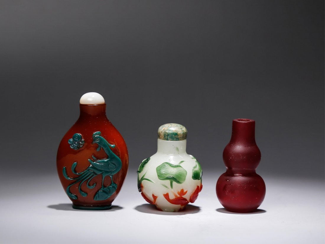 GROUP OF 3 CHINESE SNUFF BOTTLES