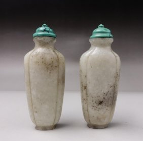 Pair Chinese Jade Snuff Bottles With Turquoise Cap