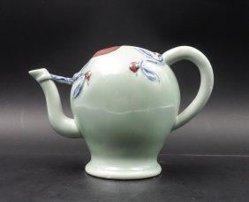 Chinese Celadon Iron Red Peach Shape Teapot