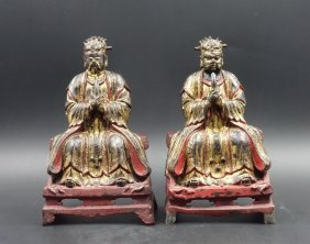 Pair Of Chinese Gilt Bronze Daoist Figure