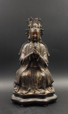 A Chinese Gilt Bronze Seated Guanyin