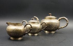 Group Of 3 Chinese Silver Tea Set,
