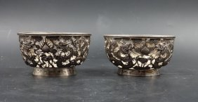 A Pair Of Chinese Dragon Silver Cups, Open Works
