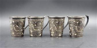 SET OF FOUR CHINESE SILVER CUPS