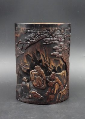 A Chinese Bamboo Caved Brush Pot Scholar