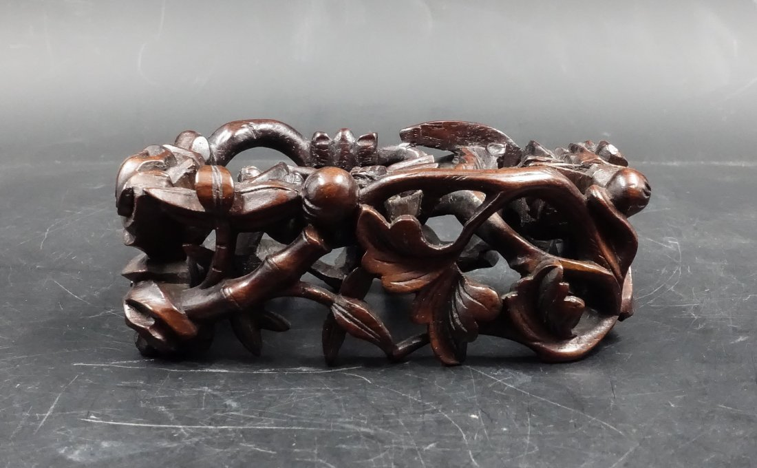 CHINESE ROSEWOOD STAND FOLIAGE OPEN WORK