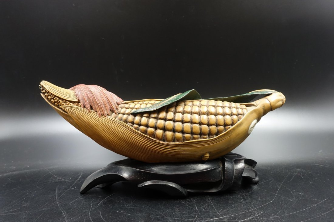CHINESE HUANGYANG WOOD CARVED CORN
