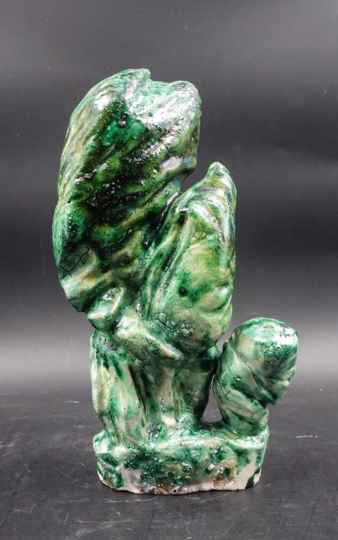 CHINESE GREEN GLAZED PORCELAIN BOULDER