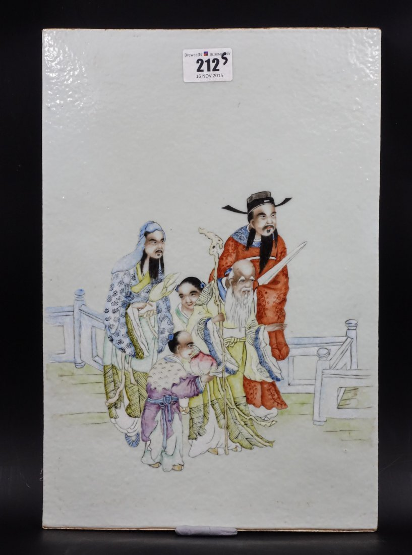 CHINESE PAINTED PORCELAIN PLAQUE WITH 3 IMMORTALS