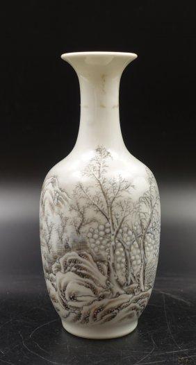 Chinese Painted Porcelain Vase, Snow Scene