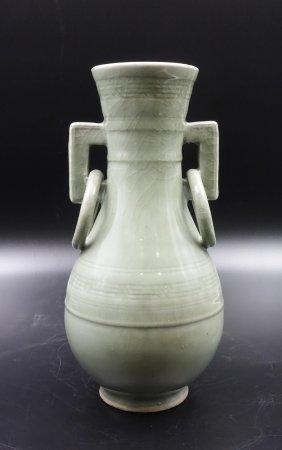 Chinese Yuan Dynasty Longquan Celadon Glazed Vase