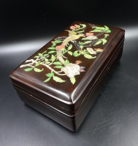 Chinese Lacquer Wood Box With Inlaid
