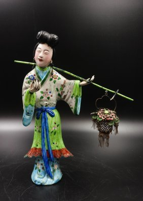 Chinese Silver Enamel Figure Of Lady With Basket