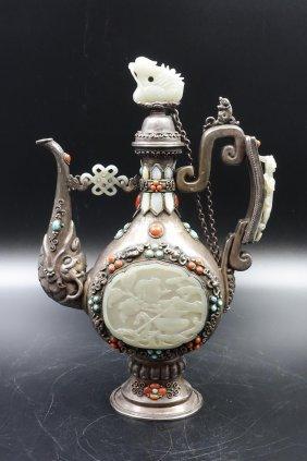 Chinese Mongolian Silver Wine Ewer Inlaid Jade