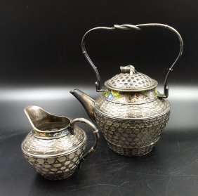 Chinese Silver Enamel Tea Set, 2 Pieces