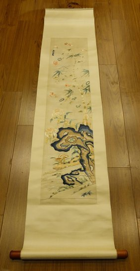 Chinese Qing Dynasty Embroidery Scroll Painting
