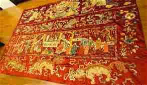 CHINESE QING DYNASTY EMBROIDERY BIRTHDAY PANEL