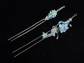 Pair Chinese Kingfisher Feathers Silver Hairpins