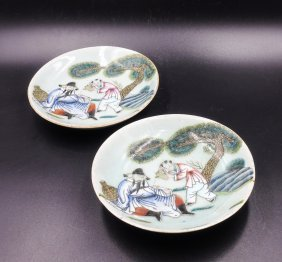 Pair Of Chinese Famille Rose Plates, Figural Scene