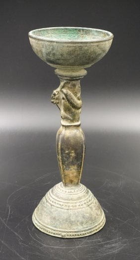 Chinese Liao Dynasty Bronze Chilong Oil Lamp