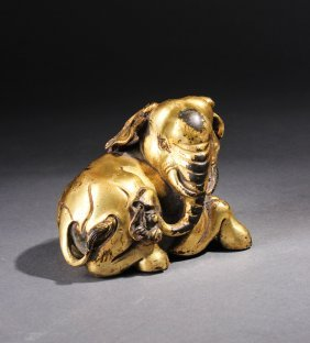 Chinese Qing Gilt Bronze Elephant Paper Weight