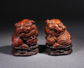 Pair Of Chinese Bamboo Carved Foolions