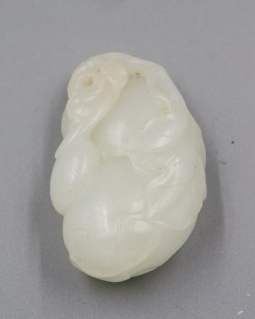 Qing Dynasty White Jade Carved Gourd