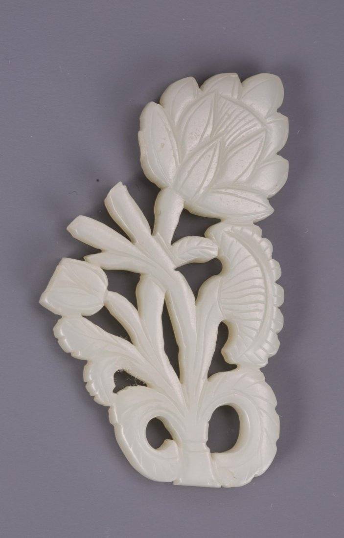 CHINESE SONG DYNASTY WHITE JADE CARVED FLOWER