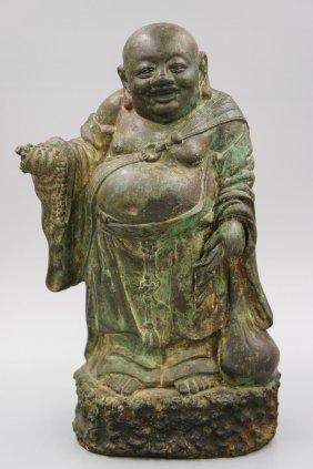 17th Century Bronze Standing Hotei