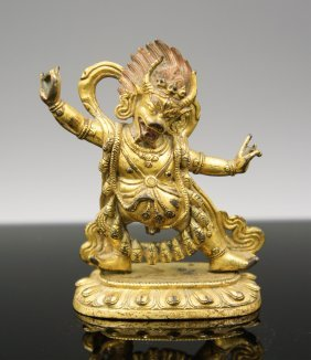 18th Century Tibetan Gilt Bronze Figure Of Yama