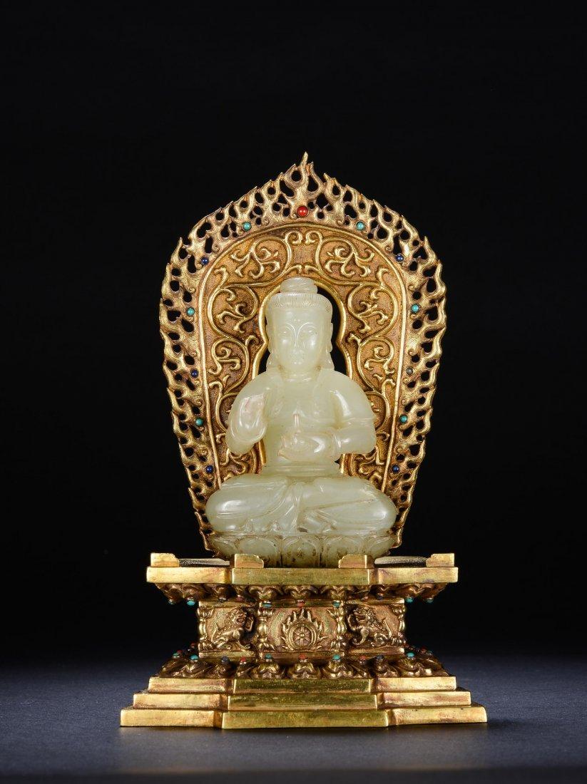 Chinese Hetian Jade Buddha With Gilt Bronze Seat