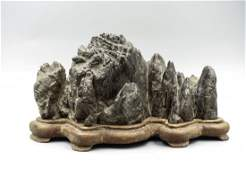 Chinese Lingbi Scholar Stone Brush Rest