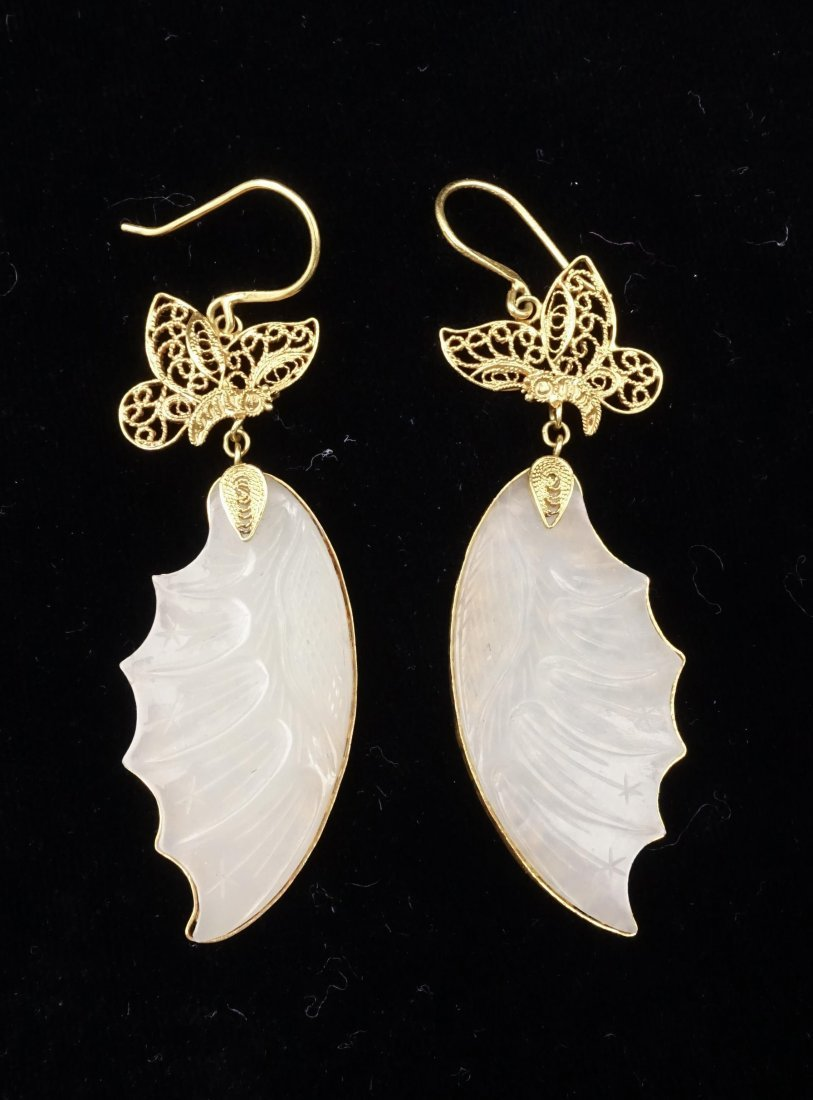 PAIR OF CHINESE WHITE JADE ON GOLD WIRE EARRINGS