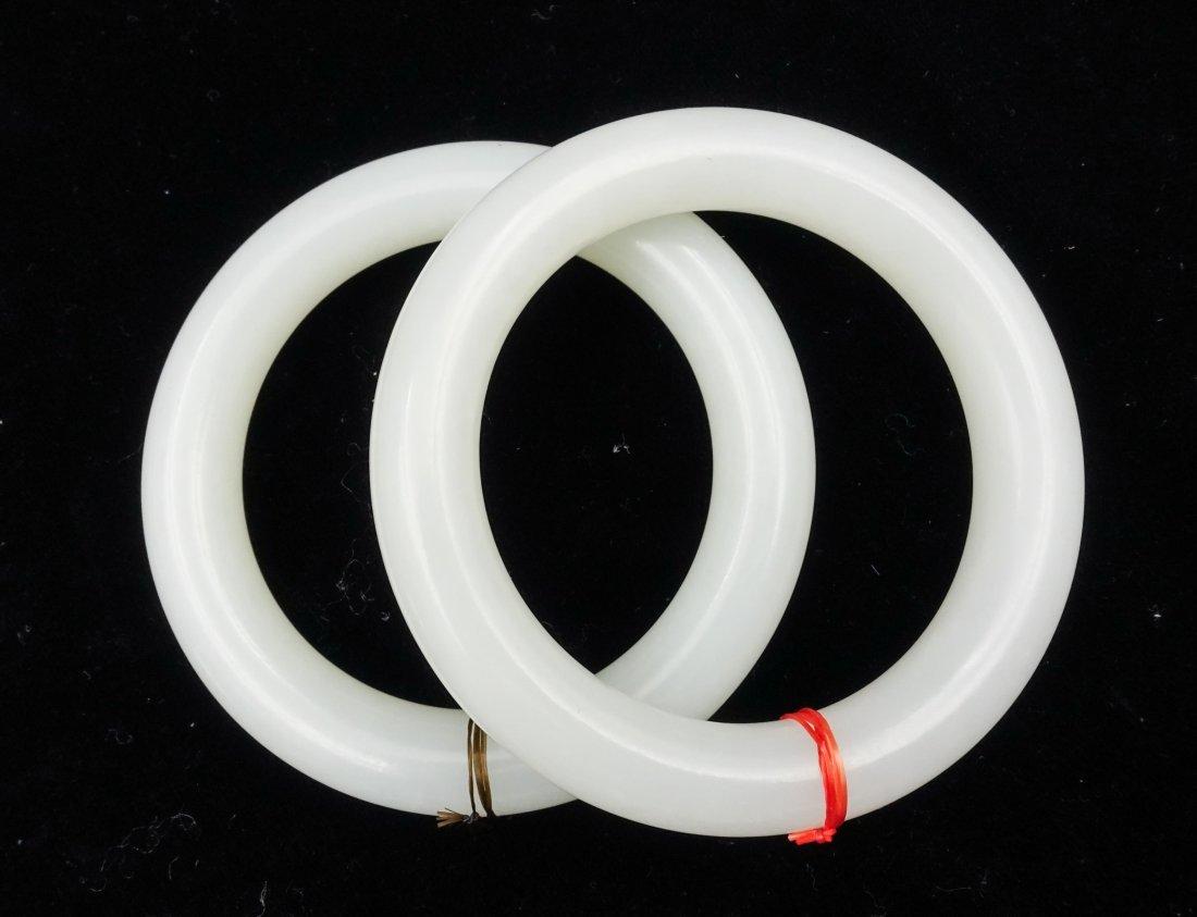 PAIR OF CHINESE WHITE JADE PLAIN BANGLES