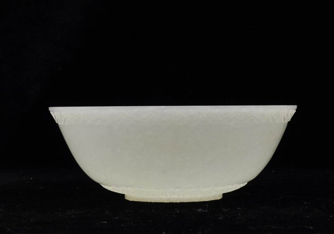 CHINESE WHITE JADE CARVED BOWL