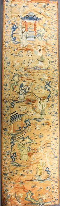 19TH CENTURY CHINESE EMBROIDERY, FIGURAL SCENE