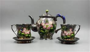 CHINESE SILVER WITH ENAMEL TEA SET
