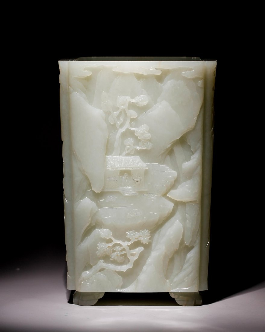 CHINESE WHITE JADE SCENERY BRUSH POT