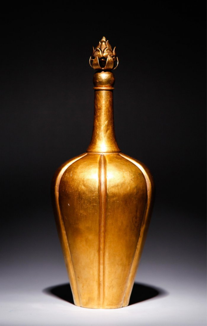 CHINESE GOLD WINE BOTTLE WITH LOTUS TOP