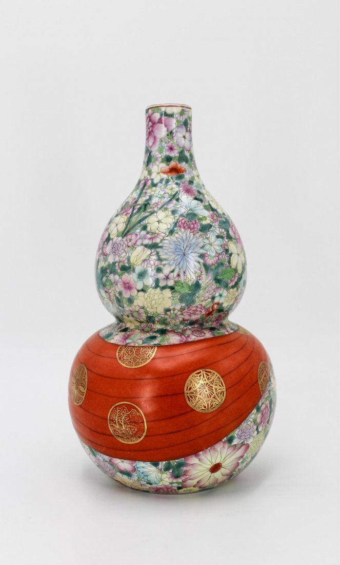 CHINESE QING DYNASTY FAMILLE ROSE GOURD VASE - 3