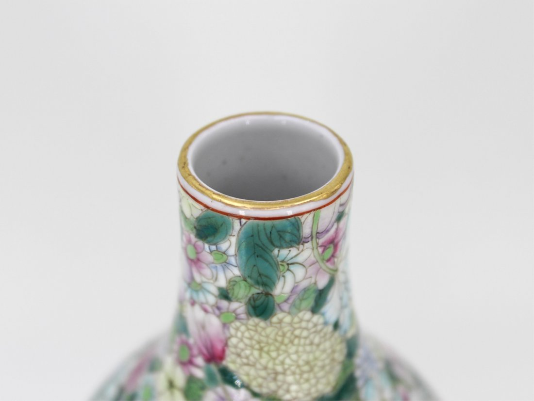 CHINESE QING DYNASTY FAMILLE ROSE GOURD VASE - 4