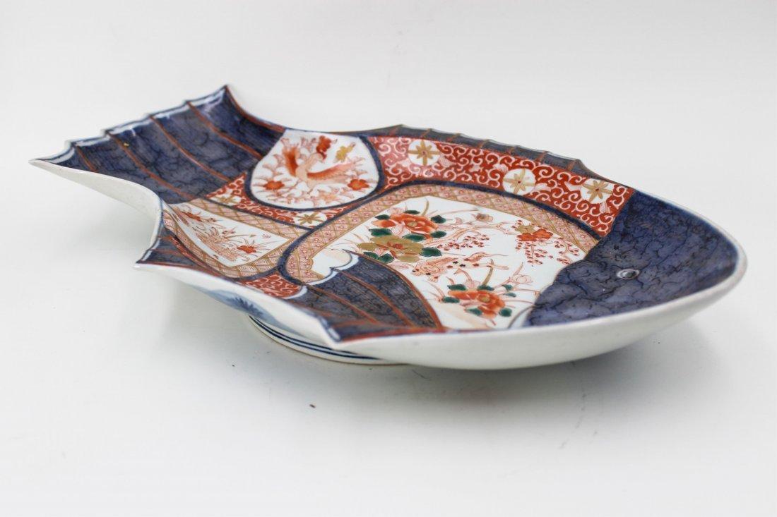 19TH CENTURY JAPANESE IMARI FISH PLATE - 4