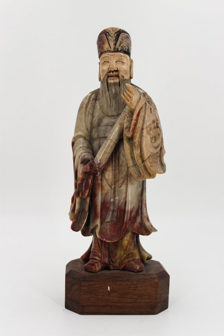 CHINESE SOAPSTONE CARVED FIGURE OF SCHOLAR