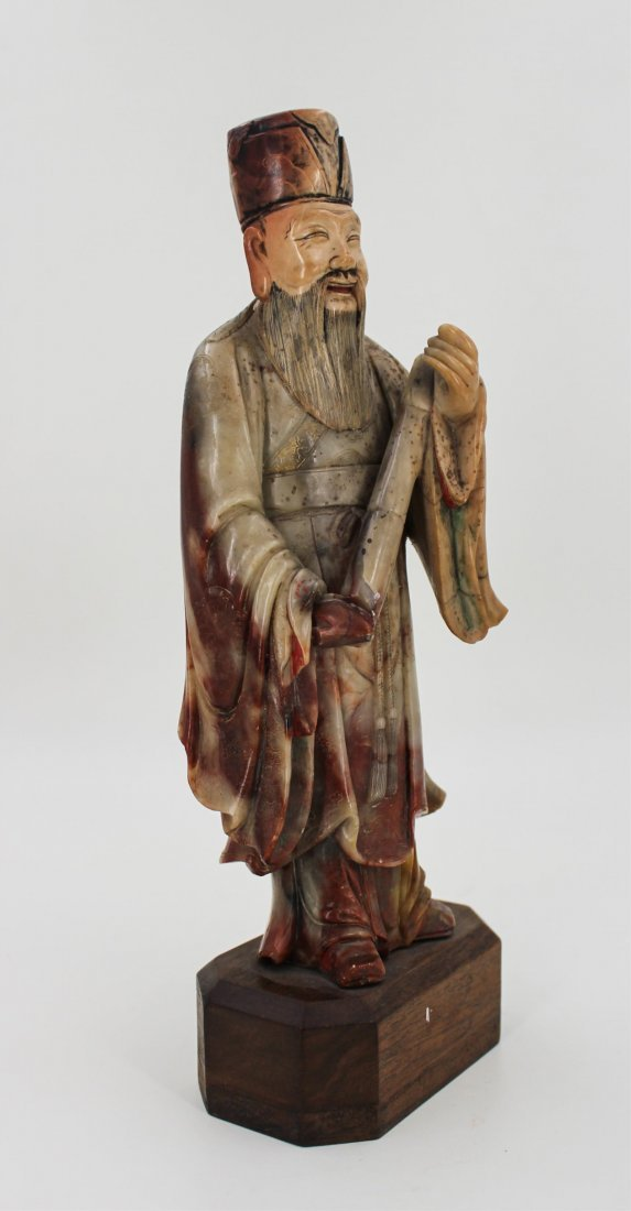 CHINESE SOAPSTONE CARVED FIGURE OF SCHOLAR - 2