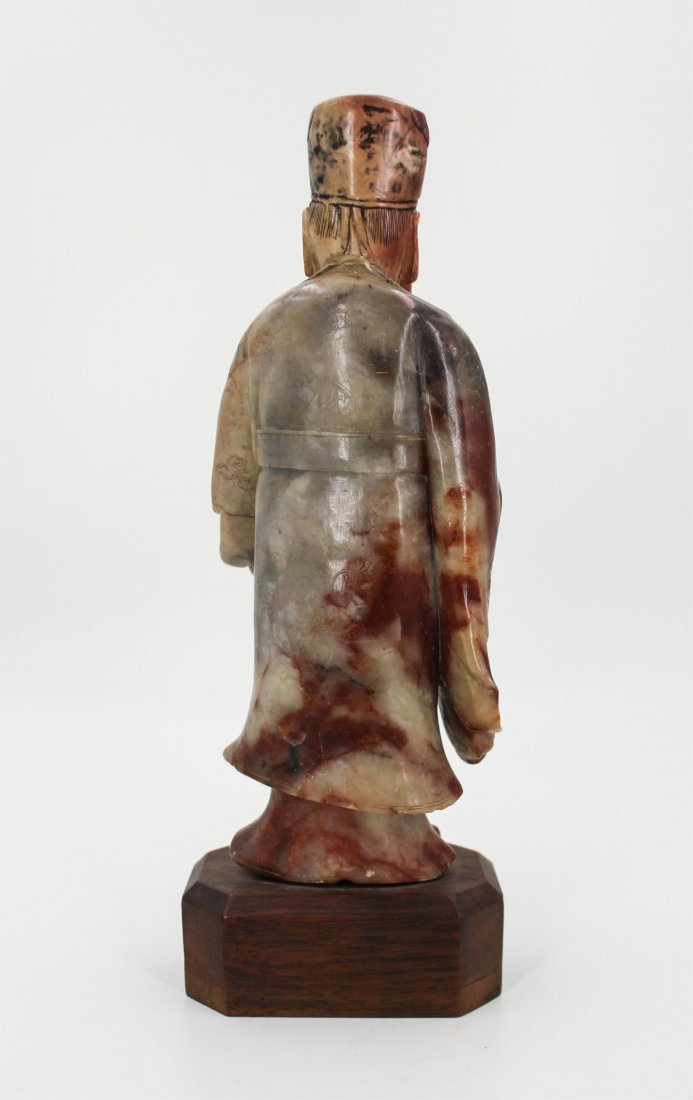 CHINESE SOAPSTONE CARVED FIGURE OF SCHOLAR - 3