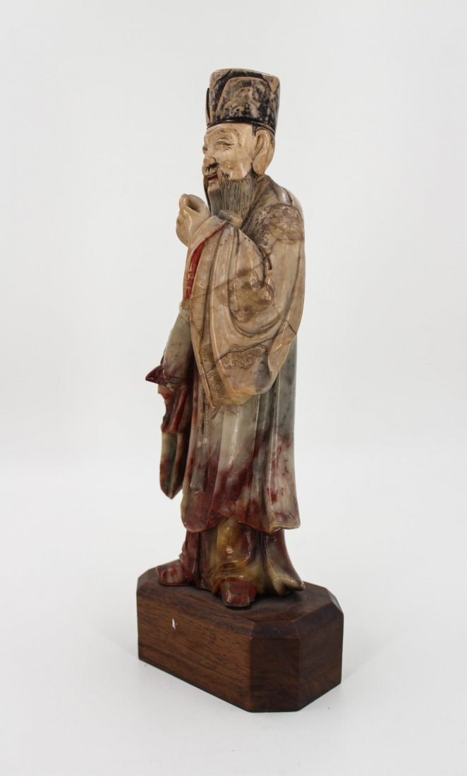 CHINESE SOAPSTONE CARVED FIGURE OF SCHOLAR - 4