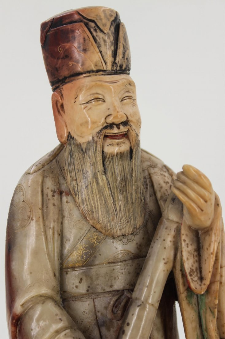 CHINESE SOAPSTONE CARVED FIGURE OF SCHOLAR - 5