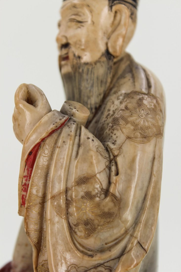 CHINESE SOAPSTONE CARVED FIGURE OF SCHOLAR - 7